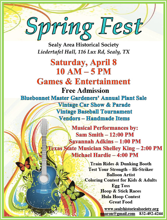 Spring Fest Sealy Historical Society